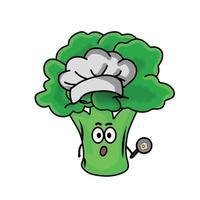 kock söt broccoli karaktär vektor mall design design
