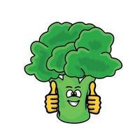 två tummar upp söt broccoli karaktär vektor mall design illustration