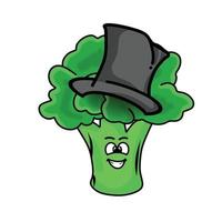 trollkarl hatt söt broccoli karaktär vektor mall design illustration