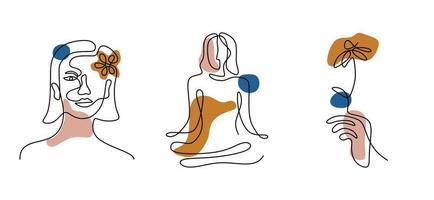 uppsättning kvinnans ansikte kontinuerlig en linje konst. stil tapetmall med kvinnliga ansikten, handen håller en blomma och yogaställning i modern enkel linjär stil. minimalistisk design. vektor illustration