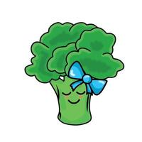 söt broccoli karaktär flicka vektor mall design illustration
