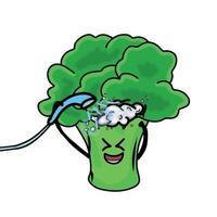 dusch söt broccoli karaktär vektor mall design illustration