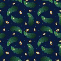 Pfauenfedern handgemaltes nahtloses Muster. Weinlesestil der Feder lokalisiert auf blauem Hintergrund. Vektorillustrationshintergrund für Textildekor und -design. modische Vorlage vektor