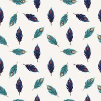 modische Vorlage für die Gestaltung von Kleidung. schöne Pfauenfeder mit buntem nahtlosem Muster lokalisiert auf weißen Hintergrundschablonentextilien, T-Shirt Design. Vektorillustration vektor