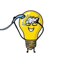 dusch söt glödlampa karaktär vektor mall design illustration