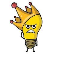 kung söt glödlampa karaktär vektor mall design illustration