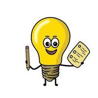 student gullig lampa karaktär vektor mall design illustration