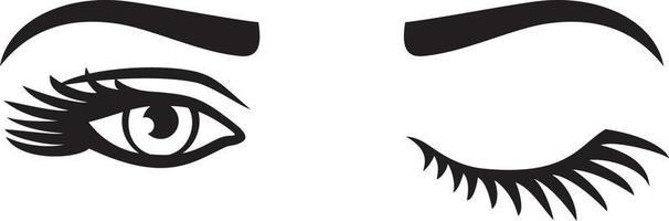 Wimpern der Frau mit Augenbrauen-Augenzwinkern-Vektorillustration vektor