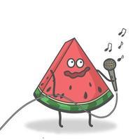 singende Wassermelonenzeichenvektorschablonenentwurfsillustration vektor