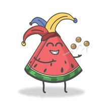 Zirkus Wassermelone Charakter Vektor Vorlage Design Illustration
