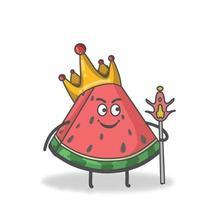 König Wassermelone Charakter Vektor Vorlage Design Illustration