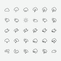Satz von Wettersymbolsymbolen. Vektorillustration von Wettersymbolen für Grafik, Website und mobiles Design. vektor