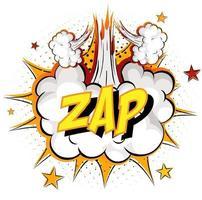 Wort zap auf Comic-Wolkenexplosionshintergrund vektor