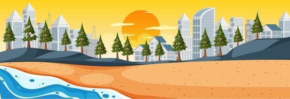 strand horisontal scen vid soluppgångstid med stadsbakgrund vektor