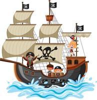 Piratenschiff auf Ozeanwelle mit vielen Kindern lokalisiert auf weißem Hintergrund vektor
