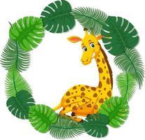 runde grüne Blätterfahnenschablone mit einer Giraffenkarikaturfigur vektor