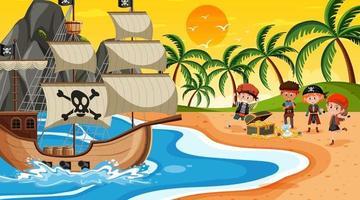 Strandszene zur Sonnenuntergangszeit mit Piratenkindern vektor