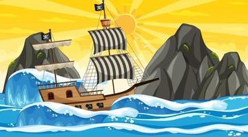 Ozean mit Piratenschiff bei Sonnenuntergangzeitszene im Karikaturstil vektor