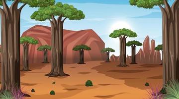 afrikanische Savannenwaldlandschaftsszene zur Tageszeit vektor