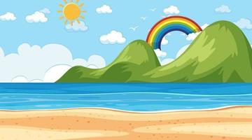 Strandlandschaft bei Tageszeitszene mit Gebirgshintergrund vektor