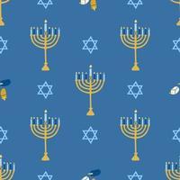 fröhliches Chanukka, das jüdische Lichterfest. Menora Kerzenhalter mit brennenden Kerzen. nahtloses Muster des Vektors auf einem blauen Hintergrund, Tapete vektor