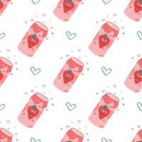 jordgubbe kolsyrad dryck i en aluminiummetallburk. vektor sömlösa mönster på en vit bakgrund