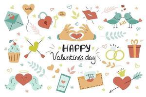 stor uppsättning för alla hjärtans dag. handskriven text, söta illustrationer för gratulationskort, affischer, klistermärken. vektorbild på en vit bakgrund. 14 februari vektor