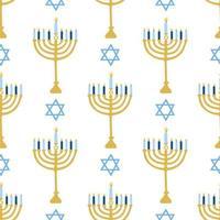 fröhliches Chanukka, das jüdische Lichterfest. Menora Kerzenhalter mit brennenden Kerzen. nahtloses Muster des Vektors auf einem weißen Hintergrund, Tapete. vektor