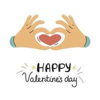 Hände zeigen ein Herz. Valentinstag Grußkarte im Doodle-Stil. Vektorillustration auf einem weißen Hintergrund vektor