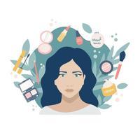 junges Mädchen mit Make-up-Produkten. Porträt auf einem Hintergrund von Pflanzen. im Kreis Mascara, Puder, Lippenstift, Nagellack, Spiegel, Pinsel, Lidschatten, Bleistift, Tagescreme. Vektor flaches Bild, Symbol