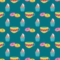 Muffins, Donuts, eine Tasse Tee auf grünem Grund. Vektor nahtloses Muster. Tapete, drucken