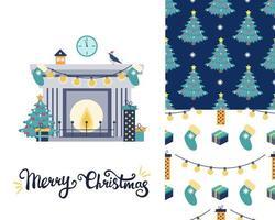 Set mit einer Weihnachtsgrußkarte. Kamin mit Weihnachtsbaum und Geschenken. zwei Weihnachtsmuster. flaches Vektorbild vektor