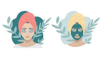 ein Mädchen in einer kosmetischen grünen Maske und mit Flecken, zwei Möglichkeiten. flaches Vektorbild auf weißem Hintergrund vektor