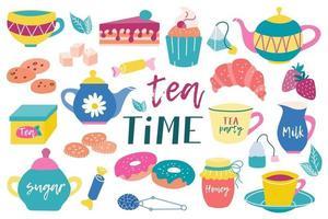 großes Teeservice. Teekannen, handgezeichnete Tassen. Süßigkeiten, Bonbons, Kekse, Kuchen. Frühstück, Teeparty. flaches Vektorbild auf weißem Hintergrund vektor
