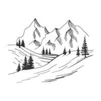 Hand gezeichnete Vektorillustration der Berglandschaft. vektor