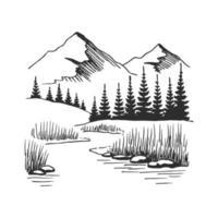 Berg mit Kiefern und Seelandschaft schwarz auf weißem Hintergrund. handgezeichnete felsige Gipfel im Skizzenstil. Vektorillustration. vektor