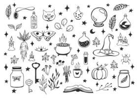 Hexerei, magischer Hintergrund für Hexen und Zauberer. Vektor Vintage Sammlung. handgezeichnete magische Werkzeuge, Konzept der Hexerei.