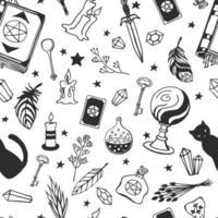 trolldom, magisk bakgrund för häxor och trollkarlar. vektor sömlösa mönster i vintage stil. handritade magiska verktyg, begrepp av häxkonst.