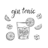 Gin Tonic klassische Cocktail Hand gezeichnete Vektor-Illustration. Glas mit Eis und einer Limettenscheibe für Cocktailkarten. hausgemachte Gin Tonic Schriftzug, isolierte Vektorillustration vektor