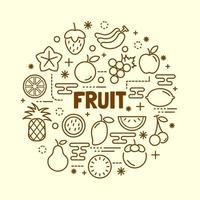frukt minimal tunn linje ikoner set vektor