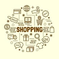 shopping minimal tunn linje ikoner set vektor