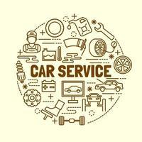 bilservice minimal tunn linje ikoner set vektor