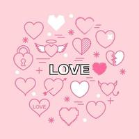 Herz minimale Umrissikonen vektor