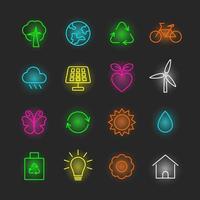 miljö neon ikonuppsättning vektor