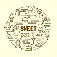 süße minimale dünne Linie Symbole gesetzt vektor