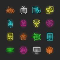 Spiel Neon Icon Set vektor