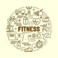 fitness minimal tunn linje ikoner set vektor