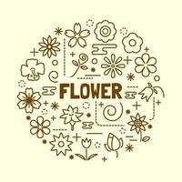 Blume minimale dünne Linie Symbole gesetzt vektor