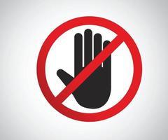 Stop Hand achteckiges Zeichen für verbotene Aktivitäten, Logo Vektor-Illustration vektor