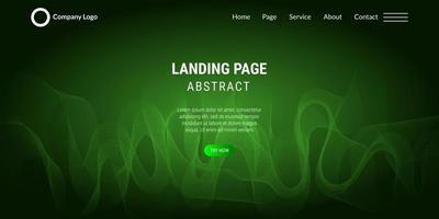 Landingpage der abstrakten Hintergrundwebsite mit grünen Wellenlinien vektor